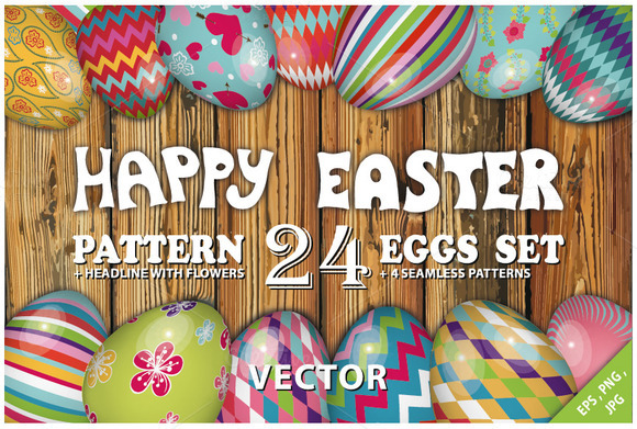 Easter Pattern Eggs Set 01.Vector