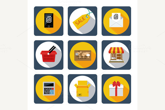 Icon Set For Mobile Shopping Market