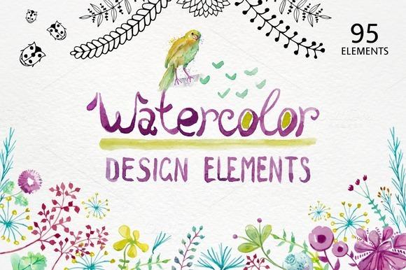 Watercolor Design Elements