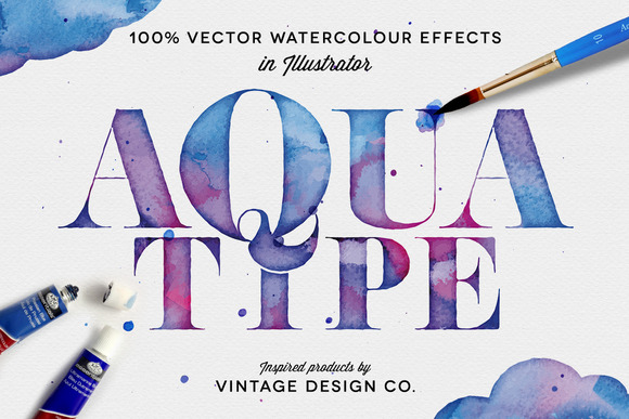 AquaType Vector Watercolor Effects