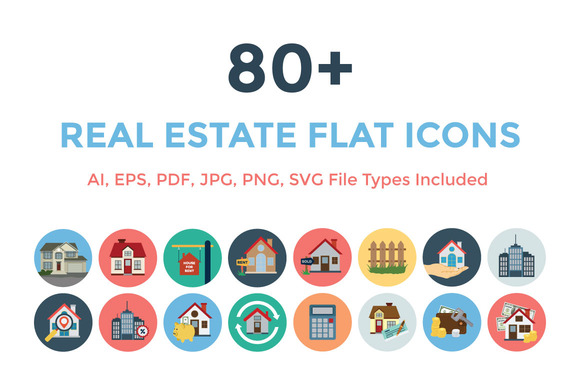 80 Real Estate Flat Icons