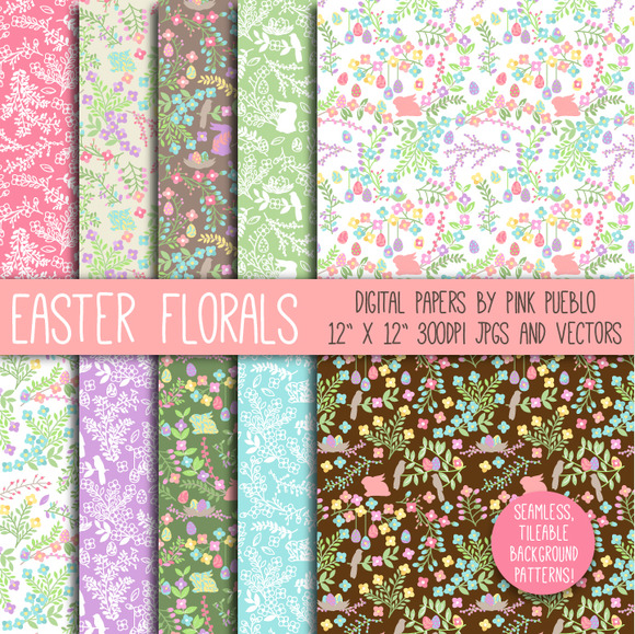 Easter Floral Papers And Patterns