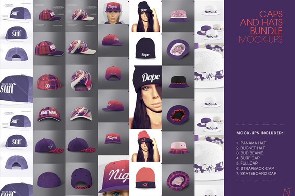 CAPS HATS MOCK-UPs BUNDLE 7 In 1