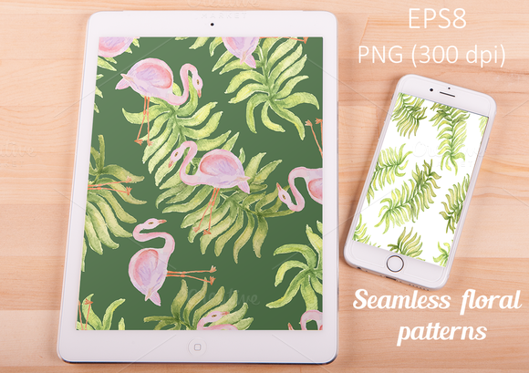 Watercolor Vector Seamless Patterns