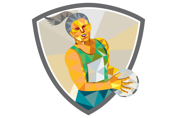 Netball Player Holding Ball Low Poly