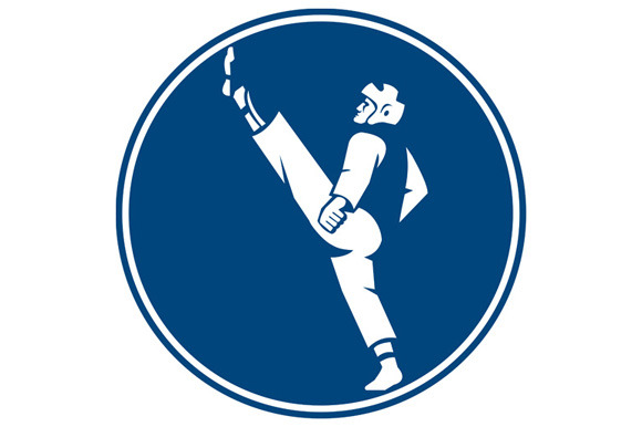 Taekwondo Fighter Kicking Stance Cir