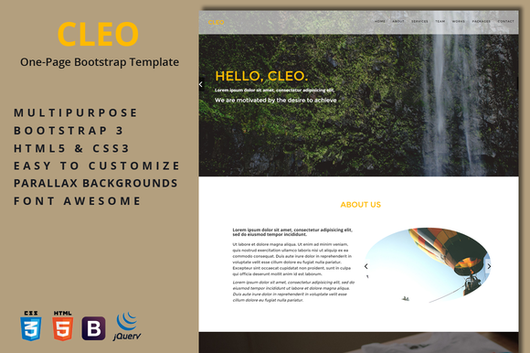 Cleo One-Page Template
