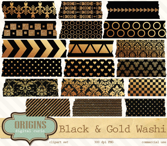 Black And Gold Digital Washi Tape