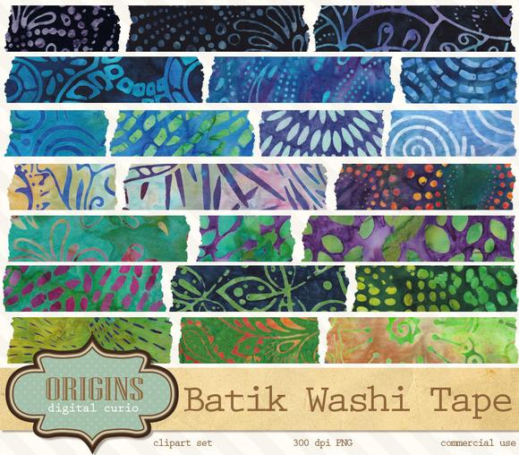Batik Tribal Digital Washi Tape