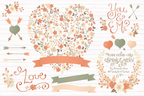 Peach Floral Heart Banner Vectors