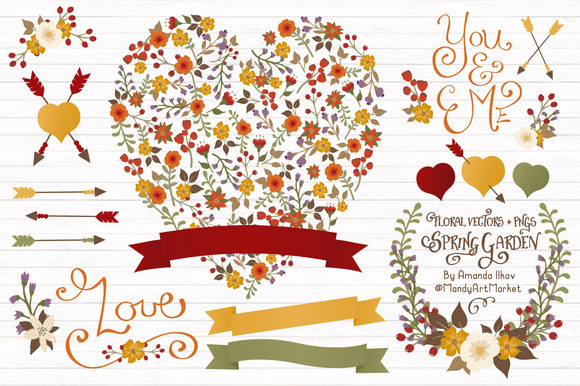 Autumn Floral Heart Banner Vectors