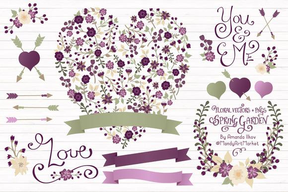 Plum Floral Heart Banner Vectors