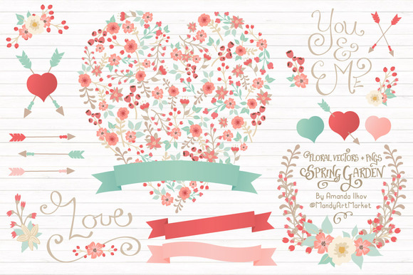 Mint Coral Floral Heart Banners