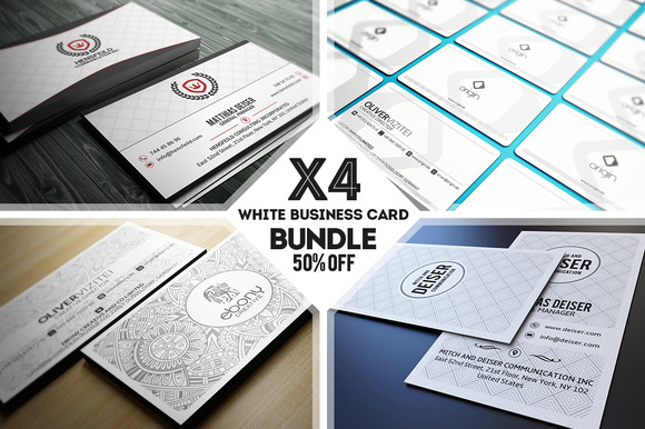 White Business Card Bundle
