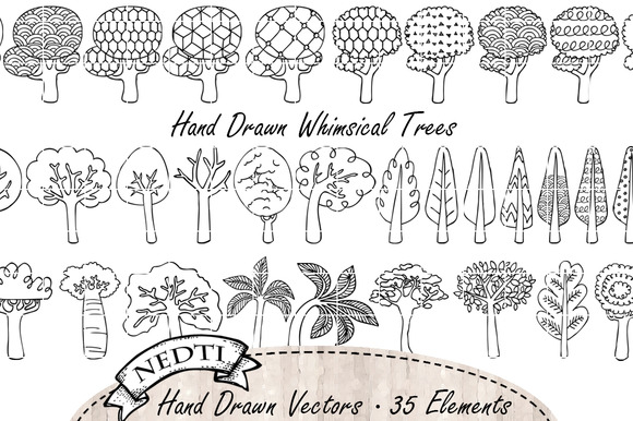 Whimsical Trees Doodle Lineart