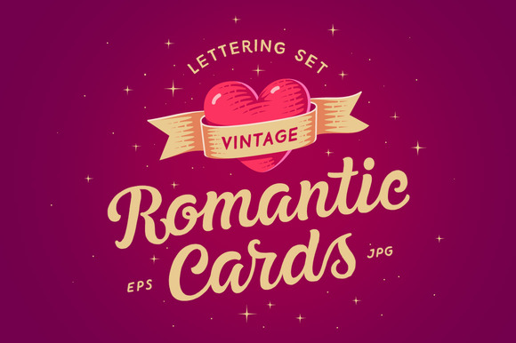 Romantic Cards Lettering Set