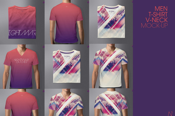 MEN T-SHIRT V-NECK MOCK-UP