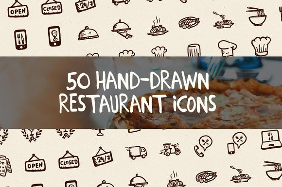 50 Hand-Drawn Restaurant Icons