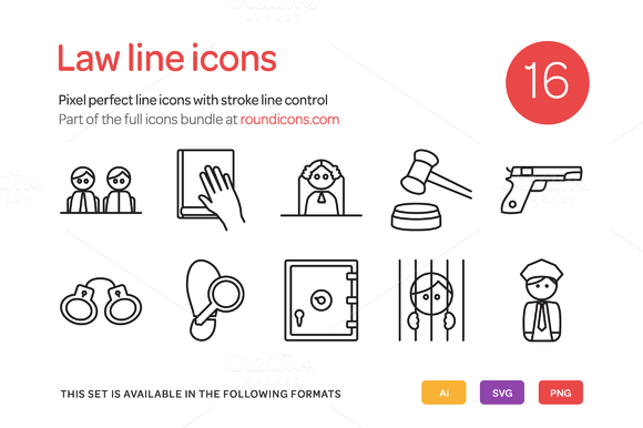 Law Line Icons Set