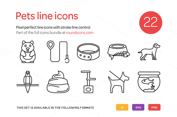 Pets Line Icons Set