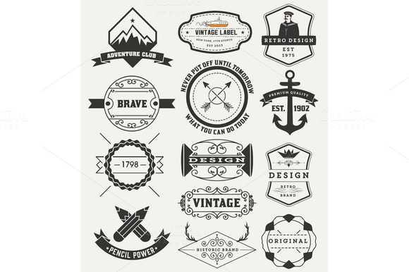 Vintage Insignias Logotypes Set V