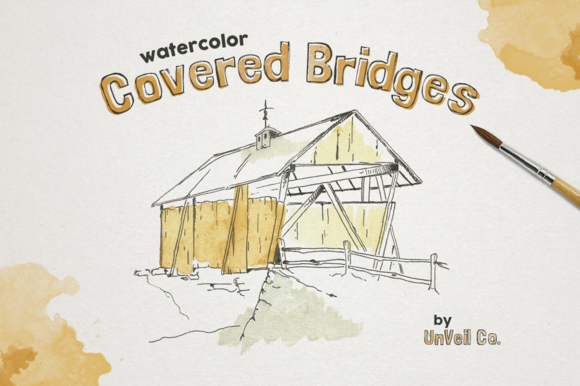 Rustic Watercolor Covered Bridges