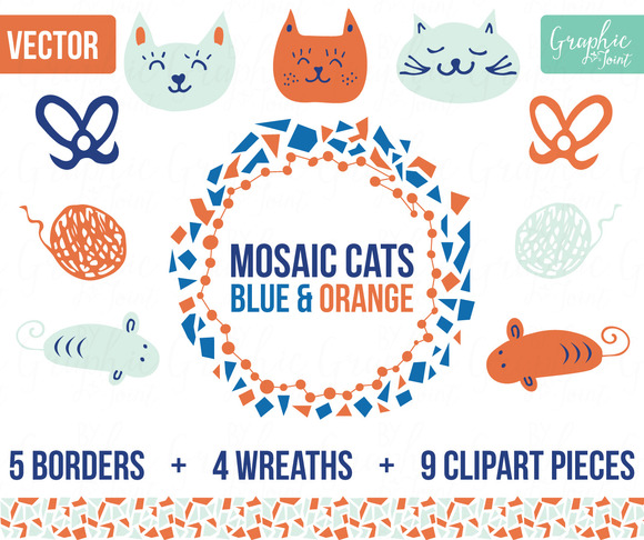 Mosaic Cats Mice Orange Blue