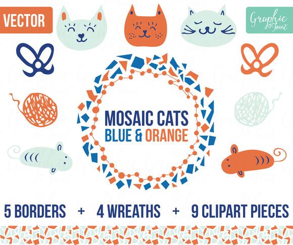Mosaic Cats Mice Orange Blue