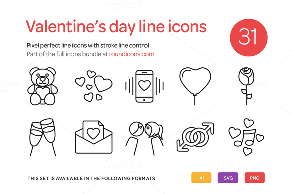 Valentine S Day Line Icons Set