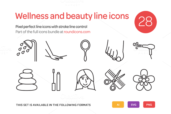 Wellness And Beauty Line Icons Set