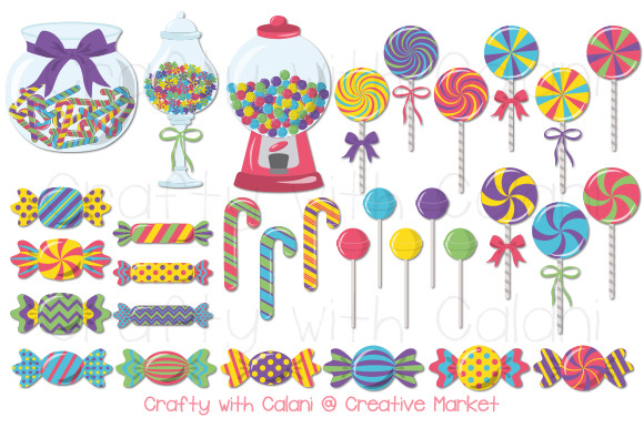 Cute Candy Clipart In Pastel Color