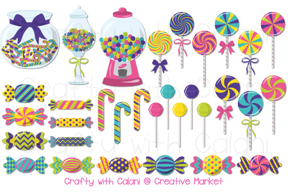 Cute Candy Clipart In Bright Color