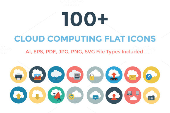 100 Cloud Computing Flat Icons