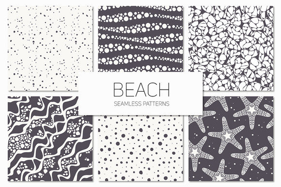 Beach Seamless Patterns Set