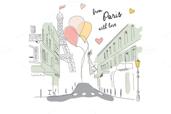 Paris Postcard Hand Drawn 002