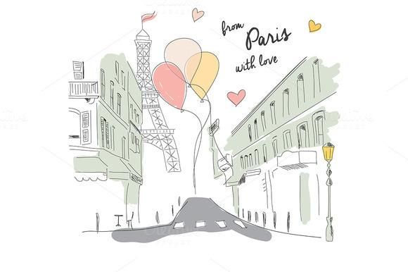 Paris Postcard Hand Drawn 002