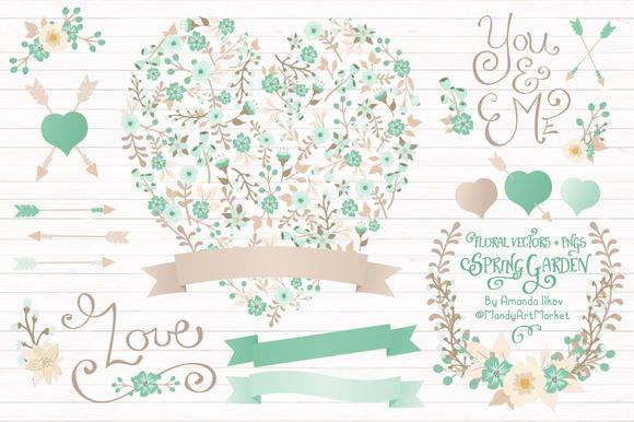 Mint Floral Heart Banner Vectors
