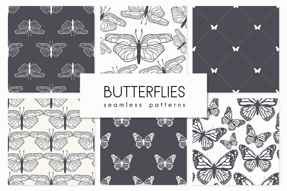 Butterflies Seamless Patterns Set