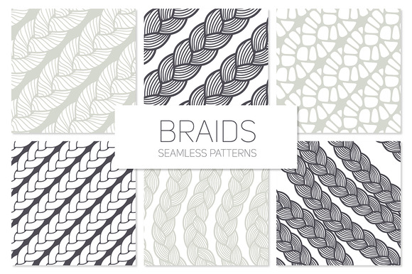 Braids Seamless Patterns Set