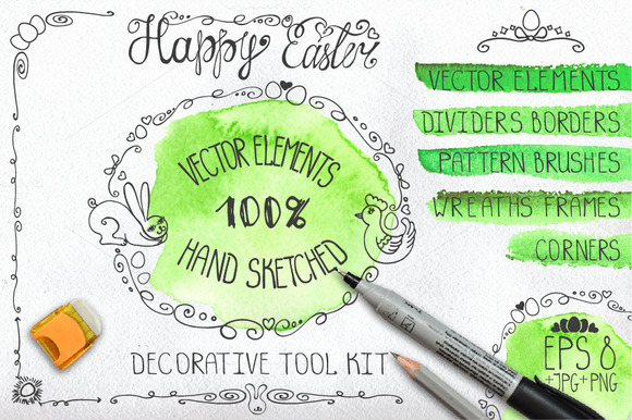 Easter Hand Drawing Decor Set 01