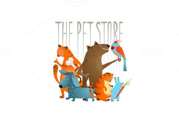 Company Of Cartoon Domestic Animals