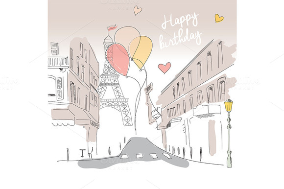 Birthday Card From Paris Hand Drawn
