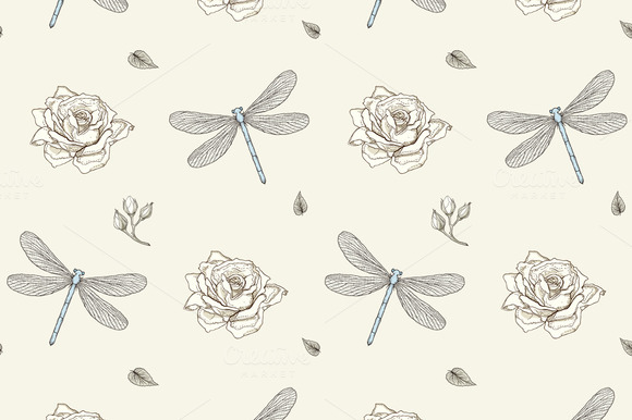 Dragonflies Roses Seamless Pattern