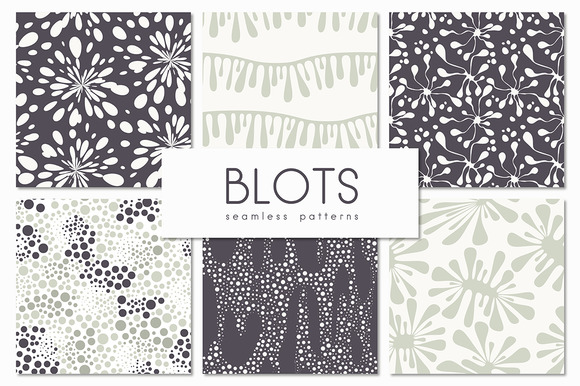 Blots Seamless Patterns Set