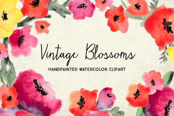 Watercolor Flower Blossoms Clipart