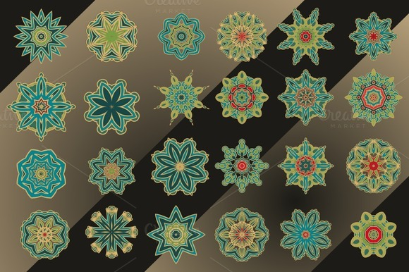 Set Of Decorative Stars And Rosettes