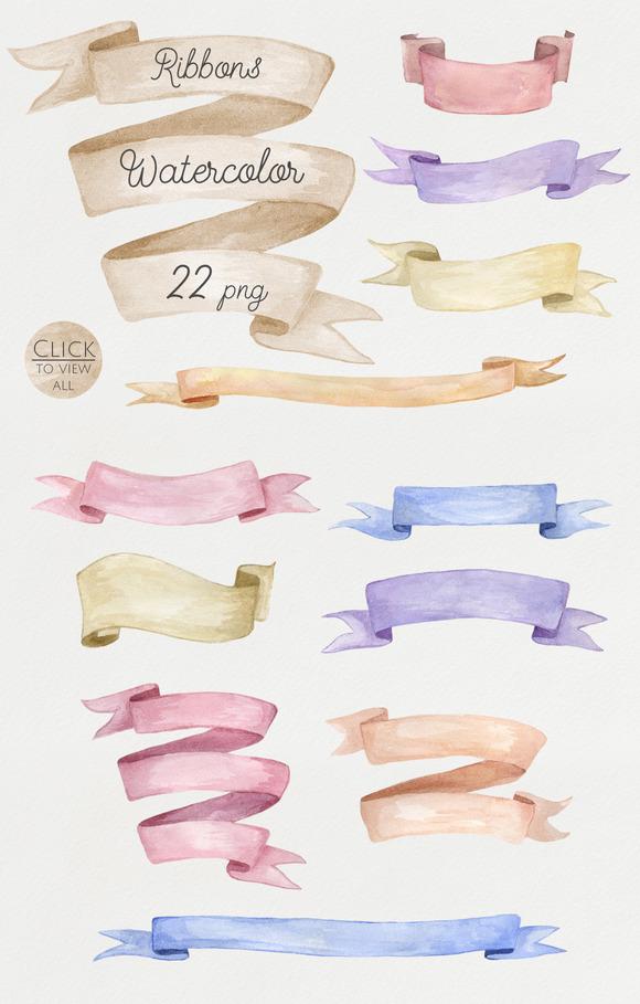 Watercolor Ribbons Set