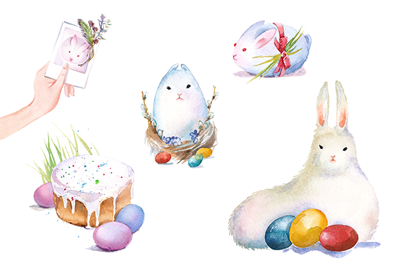 Easter Bunny Watercolor Clipart Set