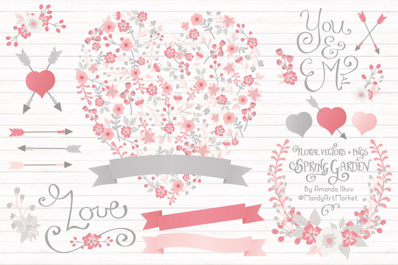 Pink Grey Floral Heart Banners