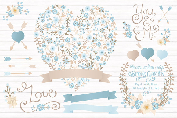 Soft Blue Floral Heart Banners